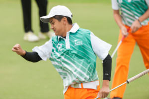 SCOTTSDALE, AZ - NOVEMBER 20: Austin Tran of the California team celebrates his putt on the fifth hole during session five for the 2016 PGA jr. League Golf Championship presented by National Rental Car held at Grayhawk Golf Club on November 20, 2016 in Scottsdale, Arizona. (Photo by Traci Edwards/PGA of America)